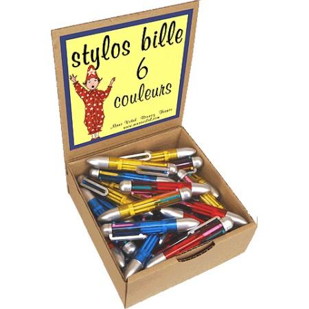 STYLOS BILLE 6 COULEURS